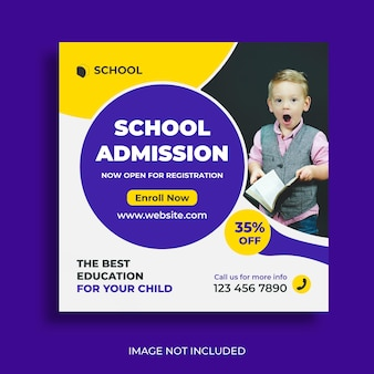 School admission social media post and web banner square template