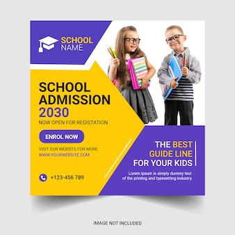 School admission social media post and web banner template free vector