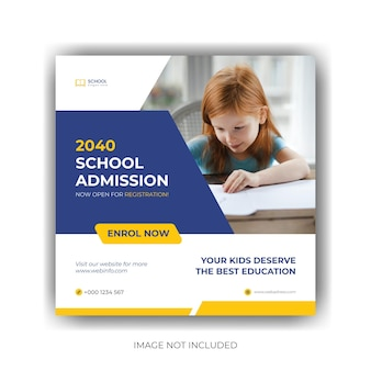 School admission social media post and web banner template premium vector