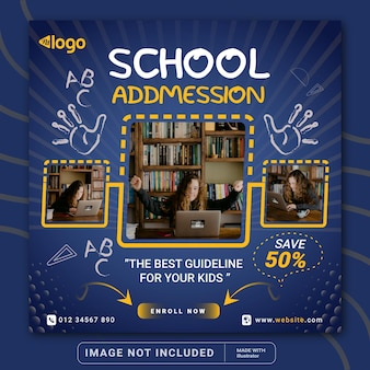 School admission special offer banner for social media instagram post banner template