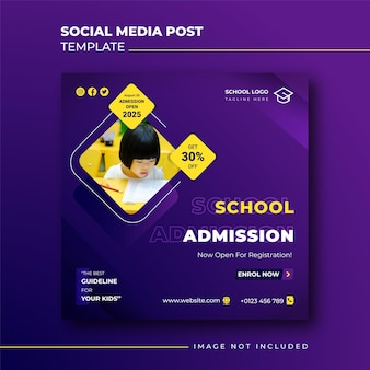 Квадратный баннер приема в школу для шаблона сообщения в социальных сетях
