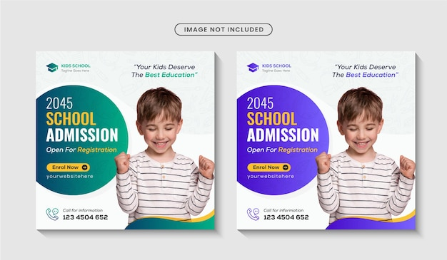 School admission square flyer and instagram social media post template premium vector