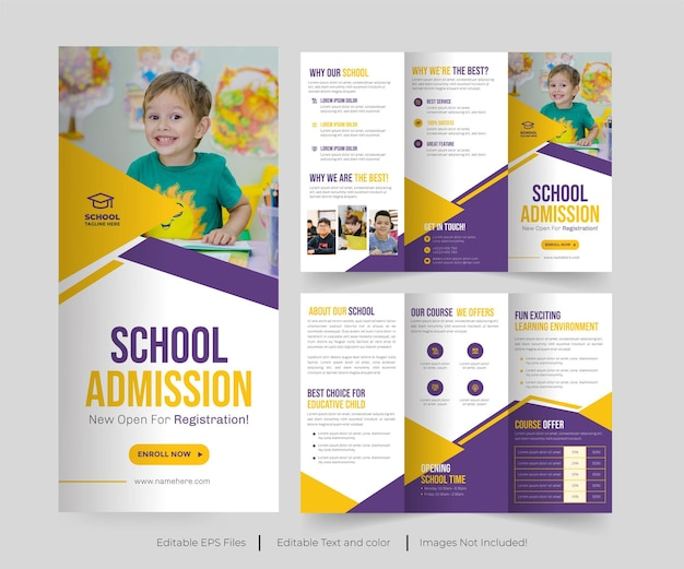 School admission trifold brochure or collage admission trifold brochure design