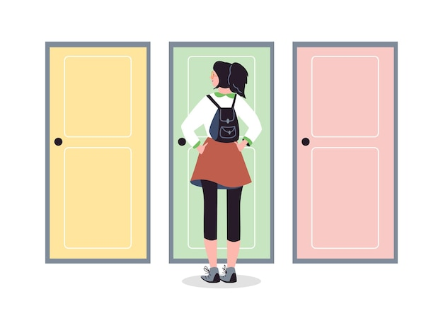 School age girl standing behind closed doors flat vector illustration isolated