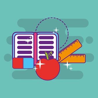 School apple notebook ruler and eraser