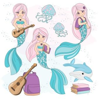 School autumn sea underwater vector illustration set mermaid kids