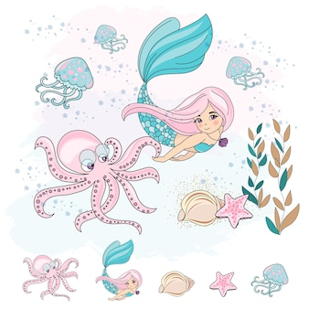 School autumn sea underwater vector illustration set mermaid octopus