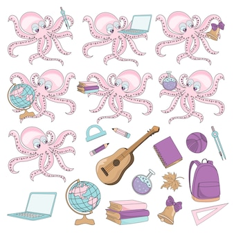 School Autumn Sea Underwater Vector Illustration Set OCTOPUS PUPIL