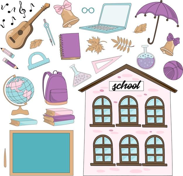 School autumn vector illustration set vivat school