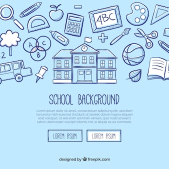 School background in hand drawn style