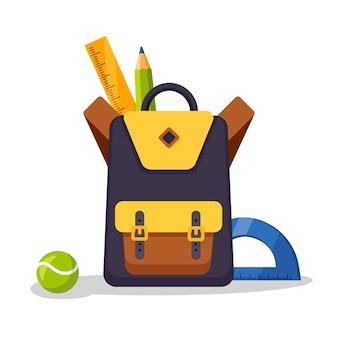 学校のバックパックのアイコン。キッズリュックサック、ナップザック。消耗品、定規、鉛筆、紙の入ったバッグ。