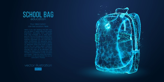 School backpack isolated from low poly wire frame particles lines and triangles on blue background. all elements on a separate layers color can be changed to any other in one click