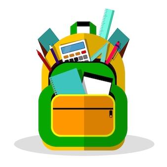 教育イラストのための学校のバックパックまたは子供のランドセル。