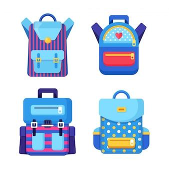 スクールバックパックセット。子供のリュックサック、白い背景のナップザック。バッグ、定規、鉛筆、紙。生徒のかばん。子供の教育、学校のコンセプトに戻る。図