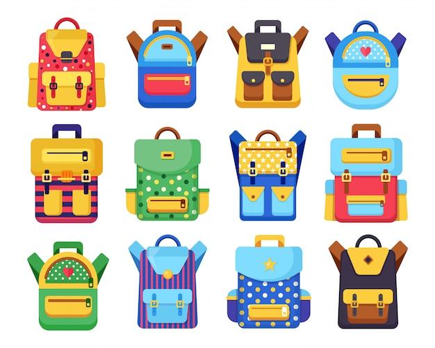Набор школьных рюкзаков. детский рюкзак, рюкзак на белом фоне. сумка с припасами, линейка, карандаш, бумага. рюкзак школьный. образование детей, обратно в школу концепции. иллюстрация