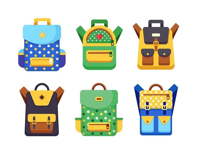 Набор школьных рюкзаков. детский рюкзак, рюкзак на белом фоне. сумка с припасами, линейка, карандаш, бумага. рюкзак школьный. образование детей, снова в школу. иллюстрация