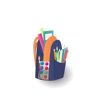 Школьный рюкзак с тетрадями и канцелярскими принадлежностями. снова в школу концепции.