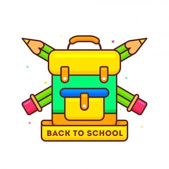 School backpack with pencil illustration for
