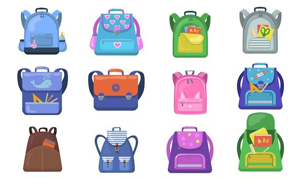 学校のバックパックセット。小学生向けのカラフルなバッグ、学用品が入った子供向けのオープンリュックサック。学校、教育、文房具、子供の頃の概念に戻るためのベクトルイラスト