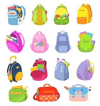 Школьные рюкзаки, набор детских школьных ранцев на белых иллюстрациях. мешки, рюкзаки, ранцы для колледжа, школьные принадлежности. детское красочное туристическое оборудование.