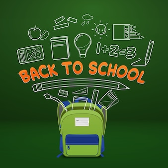 Школьная сумка и школьные принадлежности