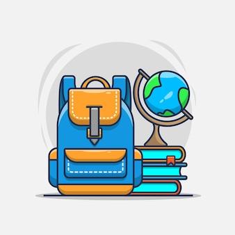 Школьная сумка, книга и иллюстрация дизайна земного шара.
