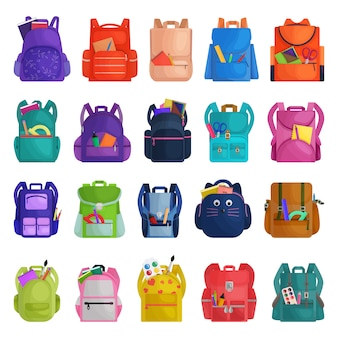 School bag   cartoon icon. isolated cartoon set icon rucksack.