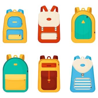 학교 가방 만화 아이콘입니다. 프리미엄 벡터