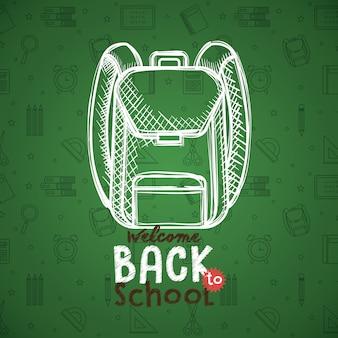School bag drawing in chalkboard vector illustration design