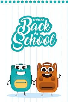 School bag equipment kawaii comic character illustration design
