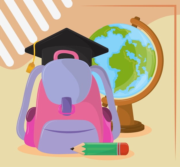 학교 가방 졸업 모자
