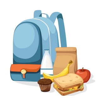 School bag and lunch paper bag with juice, apple and sandwich