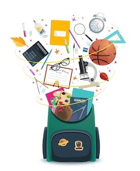 学生用品、教育、新学期のデザインが入ったランドセルまたはバックパック。本、鉛筆、ペンと顕微鏡、電卓、ペンキとブラシ、はさみと定規がリュックサックから飛び出します