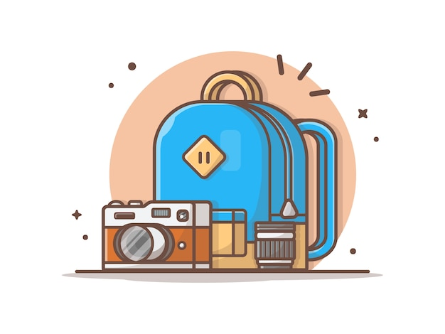 School bag with camera and lens vector clip-art illustration