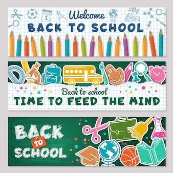 Школьные баннеры. иллюстрации для школьных баннеров