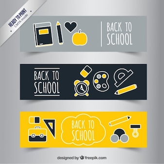 School banners in yellow and grey tones