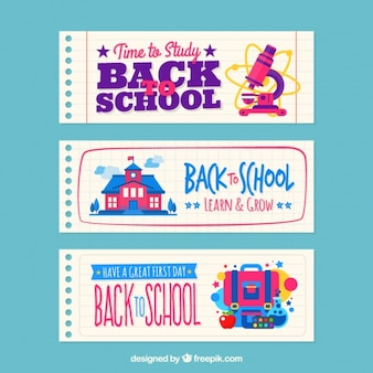 School banners notebook sheets set