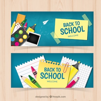 School banners with artistic elements