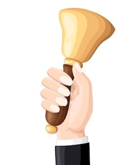 学校の鐘は先生を手に持っています。イラスト。白い背景の上の図。時間の知識と学習。