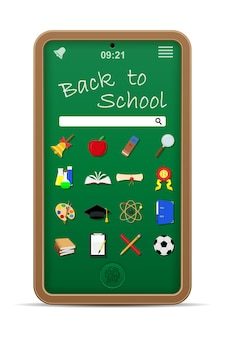 School blackboard phone online education concept vector illustration isolated on white background