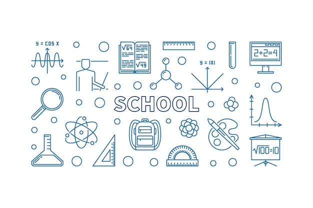 School blue concept outline horizontal banner
