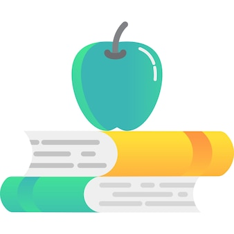 School book stack and apple icon vector isolated
