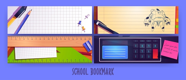 School bookmarks cartoon layout design with stationery pen sharpener pencil and ruler on blank noteb...