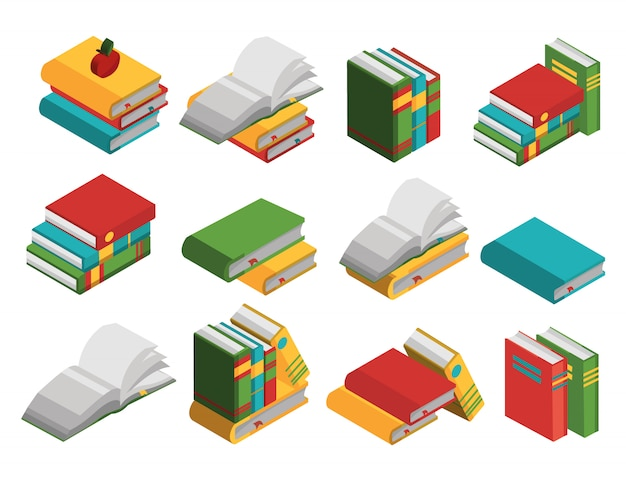 School books isometric elements set