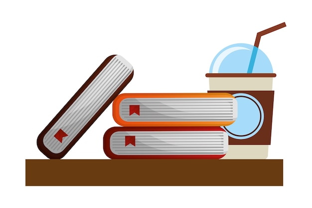 School books and paper coffee cup vector illustration