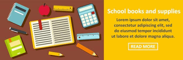 School books and supplies banner horizontal concept