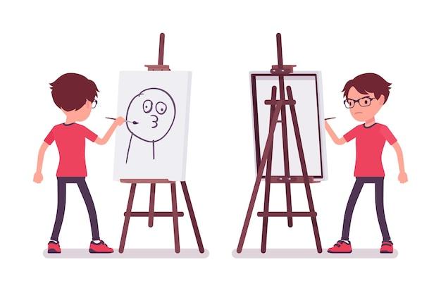 아티스트 이젤에서 재미있는 그림을 그리는 학교 소년. 미술 수업에 안경을 쓴 귀여운 작은 남자, 활동적인 어린 아이, 7, 9세 사이의 똑똑한 초등학생. 벡터 평면 스타일 만화 일러스트 레이 션
