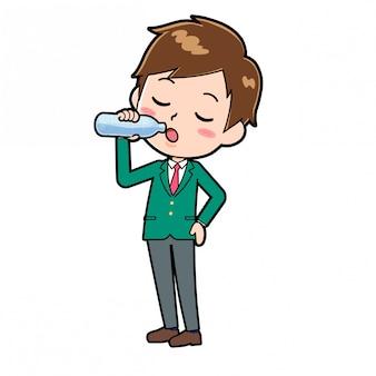 A school boy drinking water.