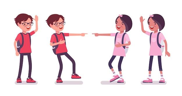 School boy, girl in casual wear laughing