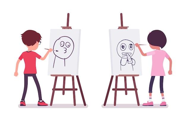 学校の男の子、アーティストのイーゼルで面白い絵を描く女の子。かわいい小さな子供たち、アクティブな若い友達の子供たち、7歳から9歳までの賢い小学生。ベクトルフラットスタイルの漫画イラスト